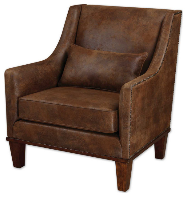 Uttermost Clay Leather Armchair - Transitional - Armchairs ...