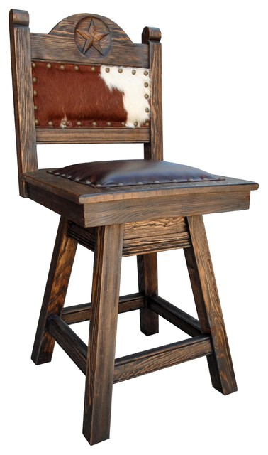 Texas Swivel Stool Cowhide Southwestern Bar Stools