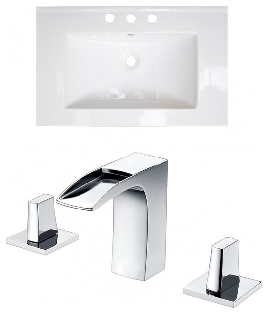 Ceramic Top Set, White Color With 8 O.c. Cupc Faucet, 24x18.