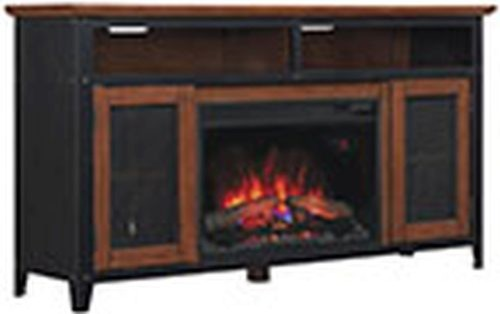 Landis Tv Stand With 25 Curved Electric Fireplace Old World Brown Traditional Indoor