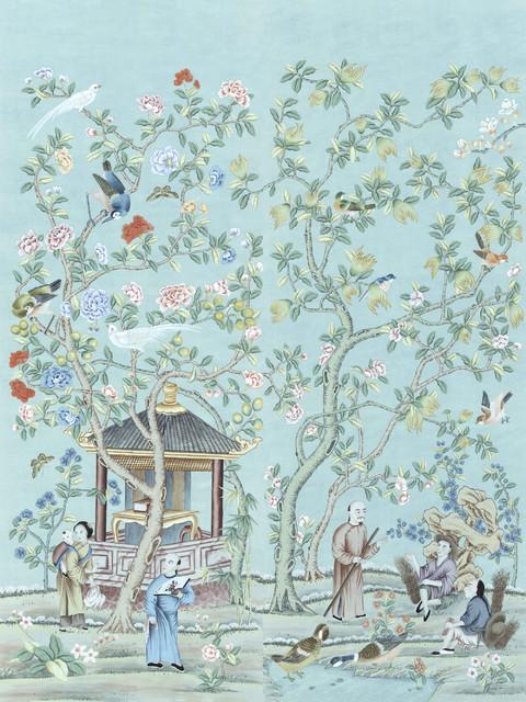 Chinoiserie wall mural tea garden diptych asian for Chinoiserie wallpaper mural