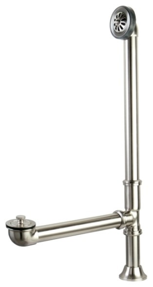 Vintage Style Satin Nickel Clawfoot Tub Waste And Overflow Drain  20 Gauge  CC208 Traditional