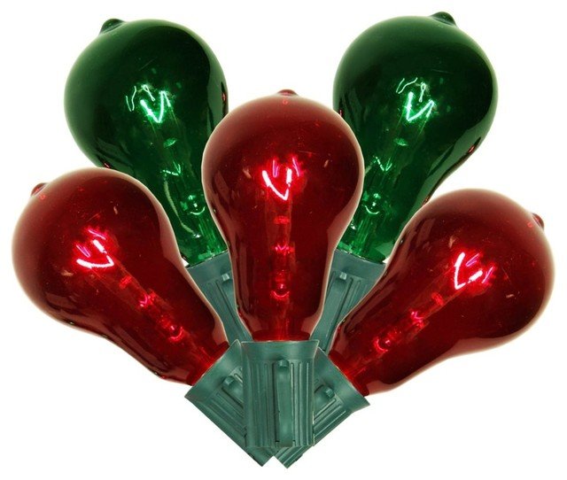 St40 Edison-Style Christmas Lights, Transparent Red/green.