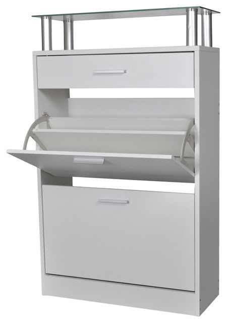 VidaXL Shoe Cabinet With Drawer and Top Glass Shelf, White