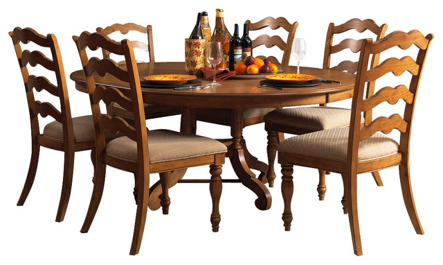 Hillsdale hamptons 7 piece round dining room set in for Traditional round dining room sets