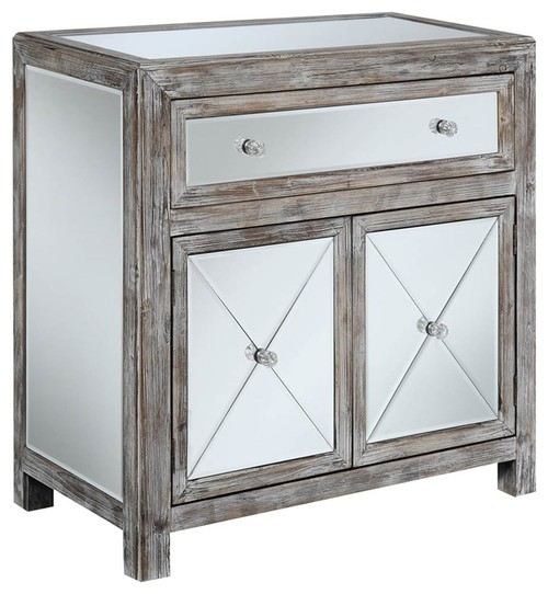 Mirrored Cabinet in Weathered White