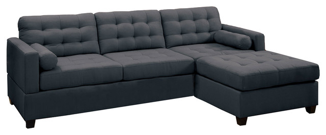 2 Piece Sectional Sofa, Slate Black Transitional Sectional Sofas