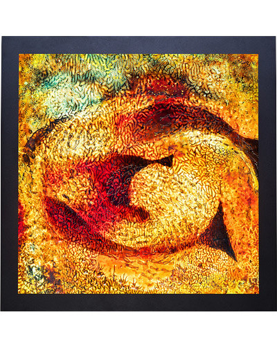 Backlit Glass Art, Fish in Gold, 24 6