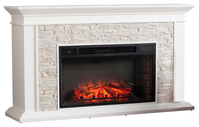Springfield Faux Stacked Stone Electric Fireplace, White.