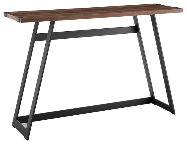 "46"" Urban Industrial Metal Wrap Entry Console Sofa Table, Dark Walnut."
