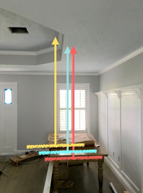 Problem Placing A Dining Table Light Fixture At Edge Of Tray Ceiling