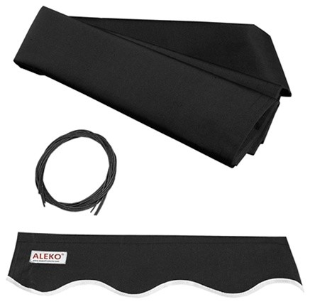 Aleko Retractable Awning Fabric Replacement 20&x27;x10&x27;, Black.