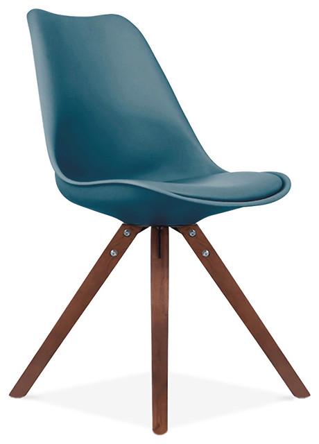 Viborg Deep Ocean Green Mid Century Side Chair Walnut Base, Set of 2