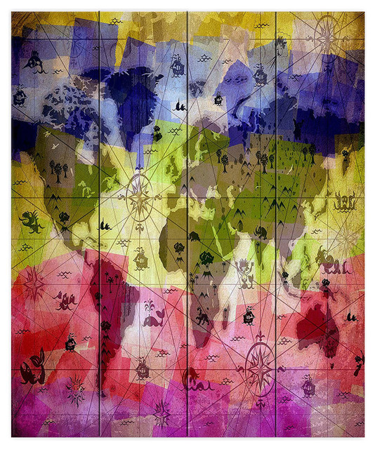 Whimsical World Map VI Wood Plank Wall Art, 16\