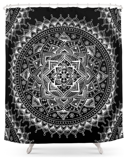 Curtains Ideas black shower curtain with white flower : Society6 Society6 White Flower Mandala on Black Shower Curtain ...