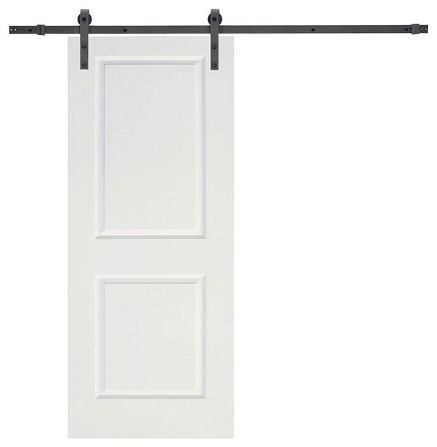 6 Sliding Barn Door Hardware Set With 30 Wide White Wood Slab