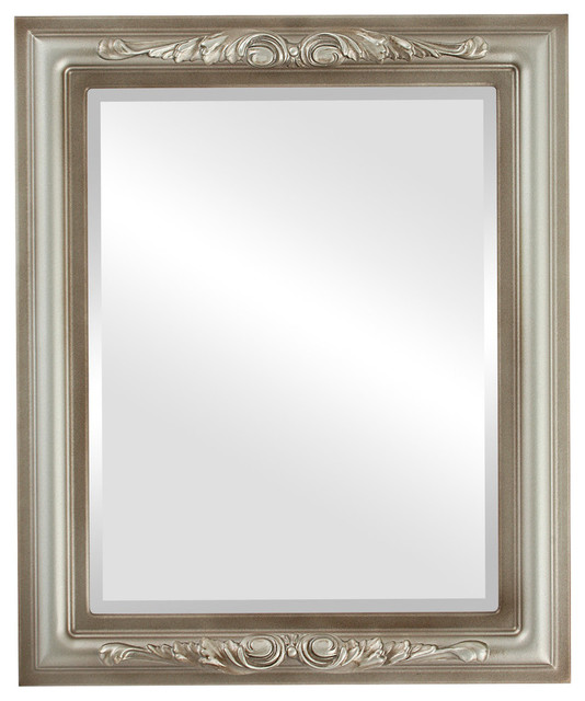 """Florence Framed Rectangle Mirror In Silver Shade, 27""""x39""""."""