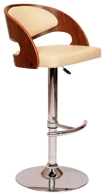Malibu Swivel Barstool With Walnut Veneer And Chrome Base
