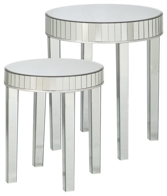 Seneca Round Mirrored Nesting Table 2-Piece Set