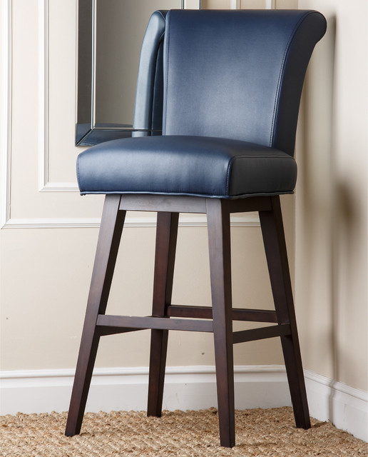 Kent Royal Blue Bonded Leather Bar Stool Blue Leather Bar Stools Houzz56