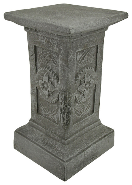 Flower medallion art pedestal decorative square solid cement column eclectic plant stands - Column pedestal plant stand ...