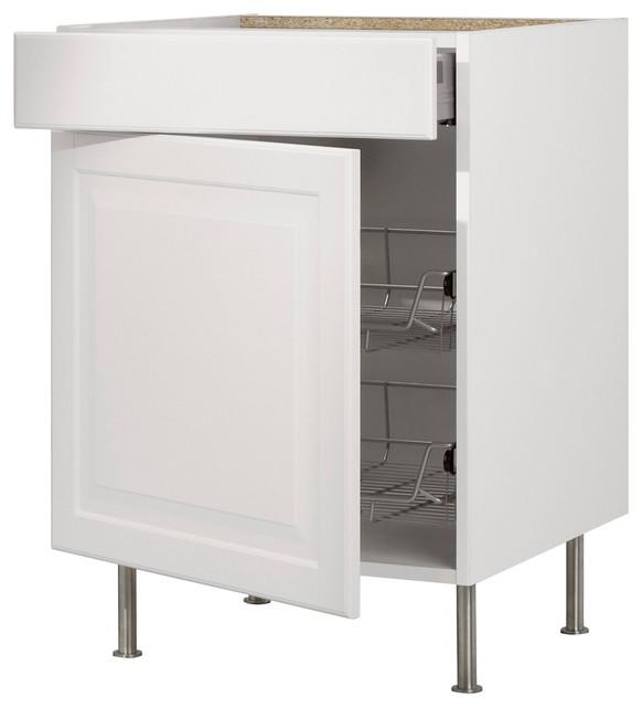 Akurum Base Cabinet With Wire Basket, Drawer, Door, Birch/Lidingö White