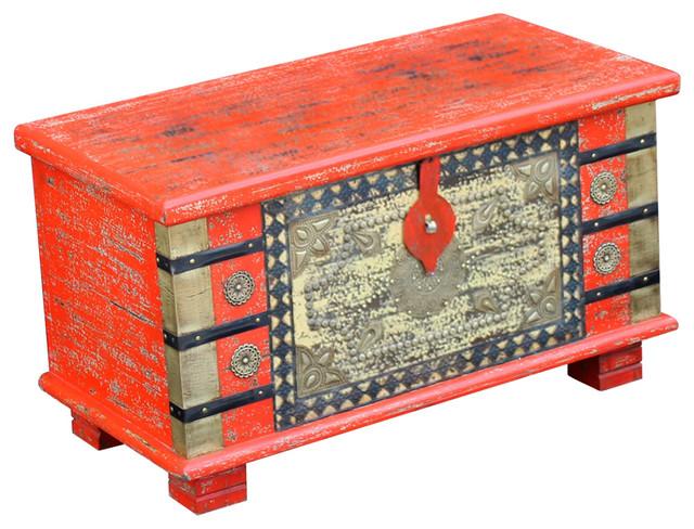 VidaXL Mango Wood Storage Chest, Red