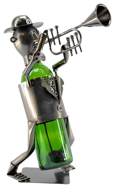 Professional Band Trumpet Player Metal Wine Bottle Holder Character