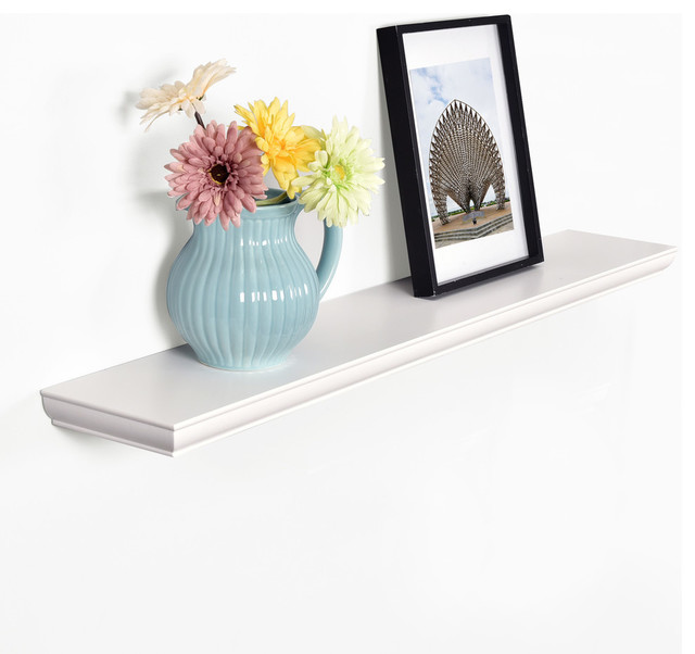 Wilson Floating Shelves Wall Display Ledge Wood Shelf, White, 48""