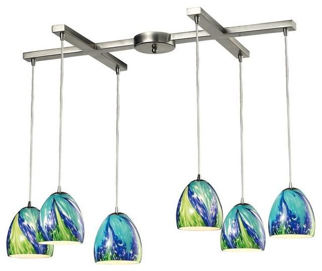 Elk Lighting Colorwave Collection 6 Light Chandelier In