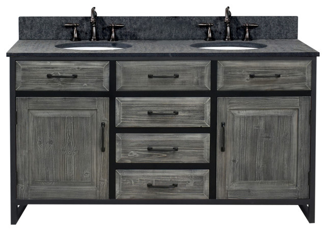 Double Sink Vanity With Matted Textured Surface Granite Top