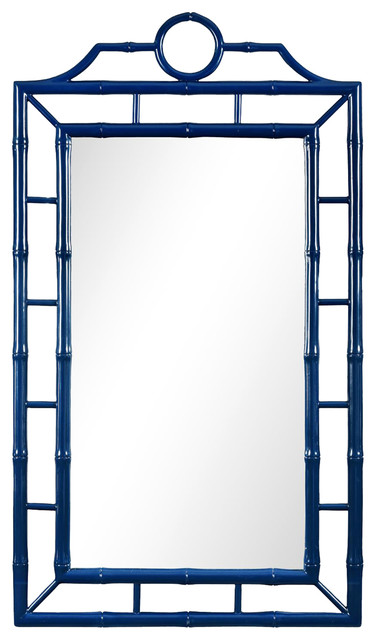 Ye Global Bazaar Navy Blue Lacquer Bamboo Chinoiserie Wall Mirror.