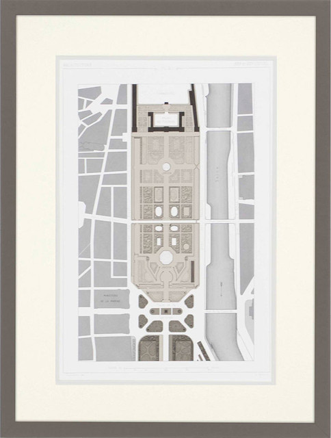 Palais Des Tuileries I Wall Art, Gray Distressed With Embossed Lip.