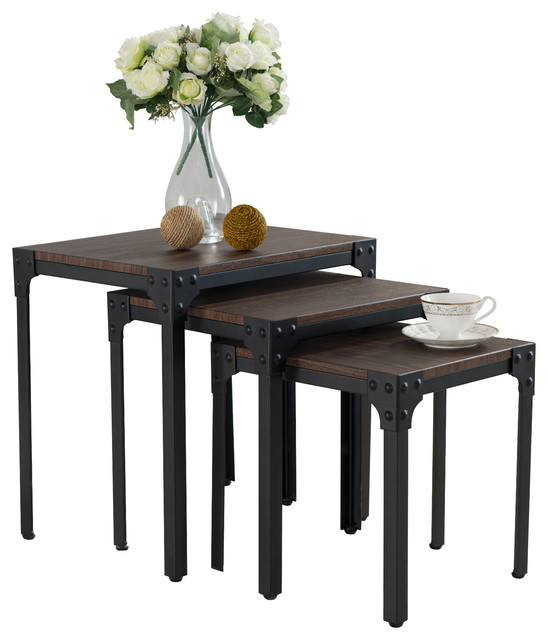 Country Style 3-Piece Nesting Table Set Antiqued Black/Dark Pine - Coffee Table Sets - by ...