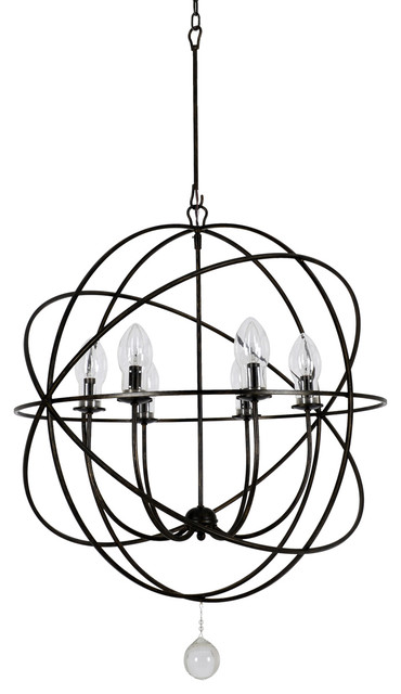 Solaris 6-Light Outdoor Chandelier, English Bronze.