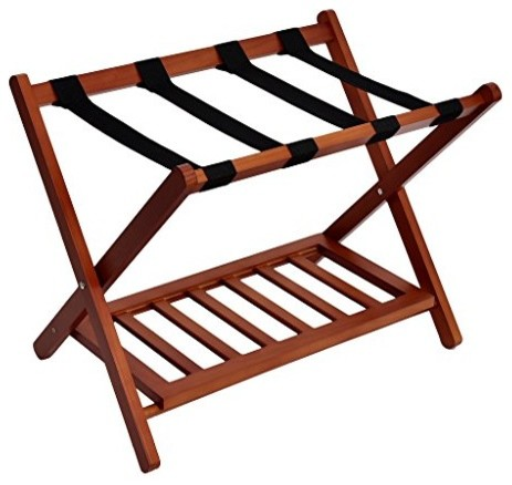 Welland Wood Folding Luggage Rack Suitcase Organization With Shelf Contemporary Closet