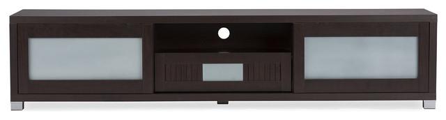 "Gerhardine Wood Tv Cabinet With 2 Sliding Doors And Drawer, Dark Brown, 70""."