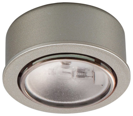 Round Xenon Button Light, Brushed Nickel