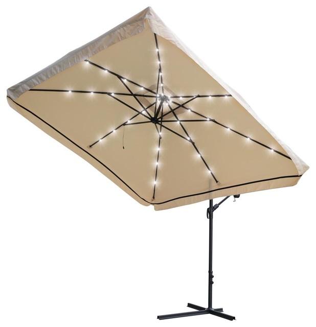 Patio Offset And Hanging Umbrella With LED Lights, 9u0027x9u0027 Contemporary  Outdoor