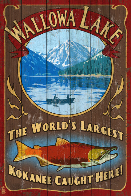 POSTER TRAVEL KLAMATH LAKE OREGON CABINS FISHING BOATING VINTAGE REPRO FREE S//H