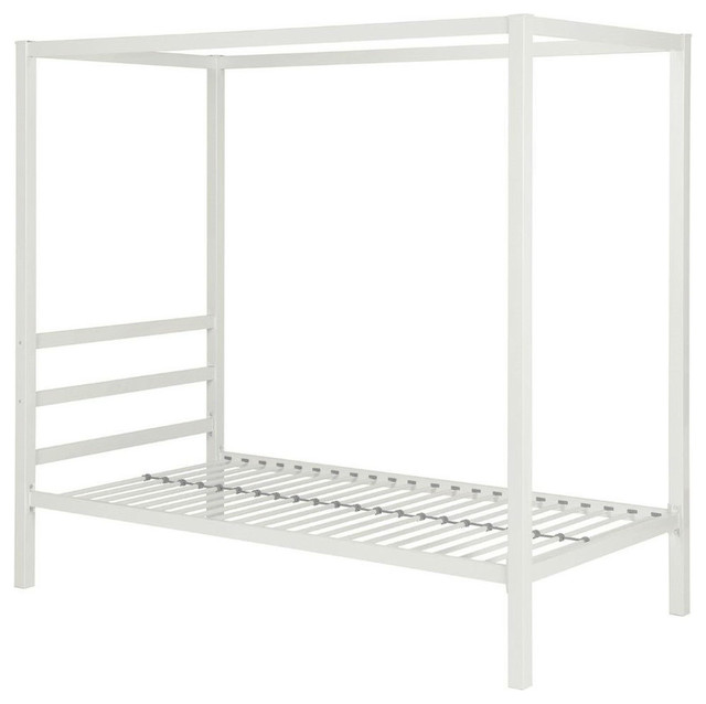 Twin Size White Metal Platform Canopy Bed Frame, No Box-Spring ...