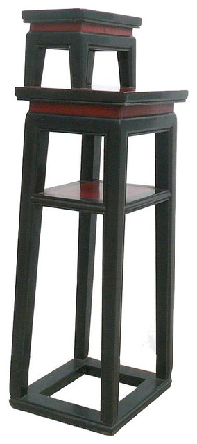 chinese black u0026 red narrow side table stand