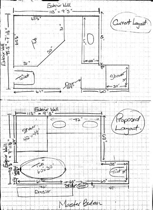 Need help with master bath layout need a larger shower for Master bathroom plumbing diagram