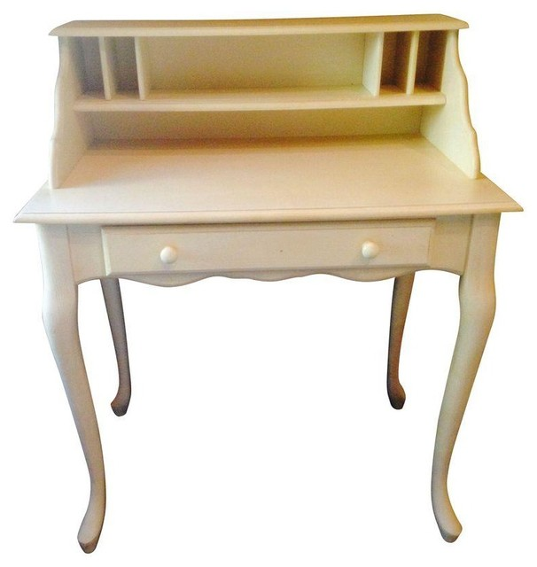 Pottery Barn Antique White Desk farmhouse-desks-and-hutches - Pottery Barn Antique White Desk - Farmhouse - Desks And Hutches