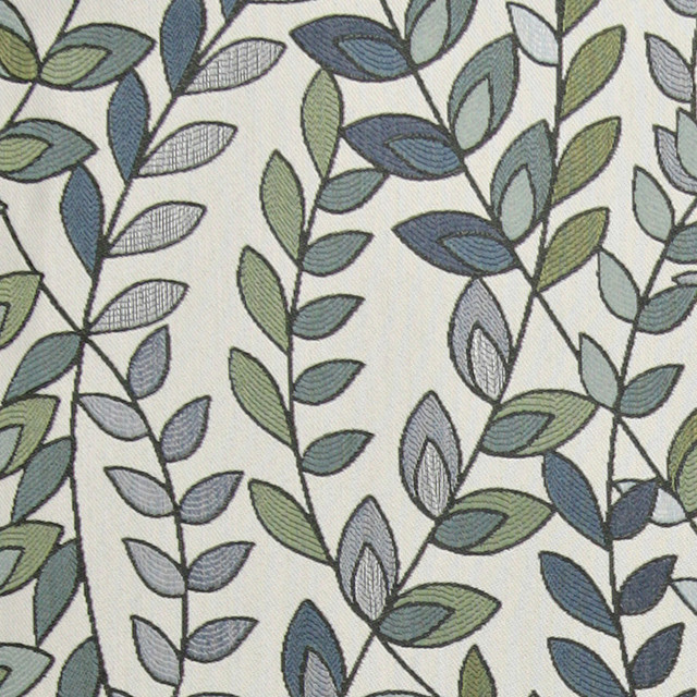 Shop Turquoise Leaf Print Fabric on Houzz For Less | Houzz