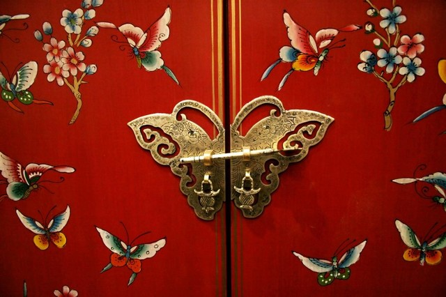 butterfly door on chinese style furniture wall mural 18 inches w x 12 inches asian style furniture asian