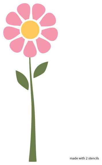 Daisy Flower Stencil For Painting Contemporary Wall