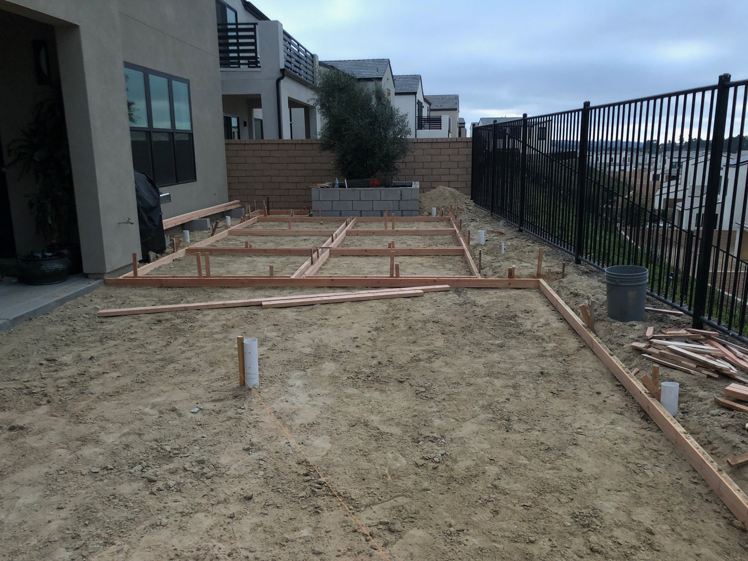 Installing Form Boards for Concrete Patio