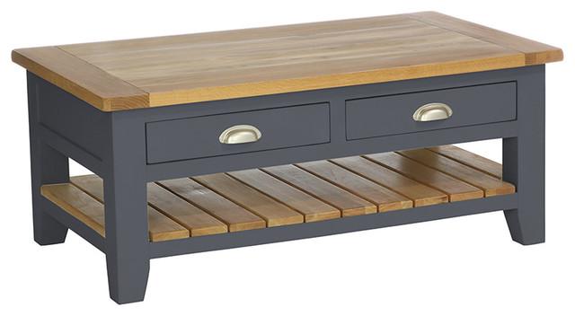 2-Drawer Rectangular Coffee Table, Dark Grey