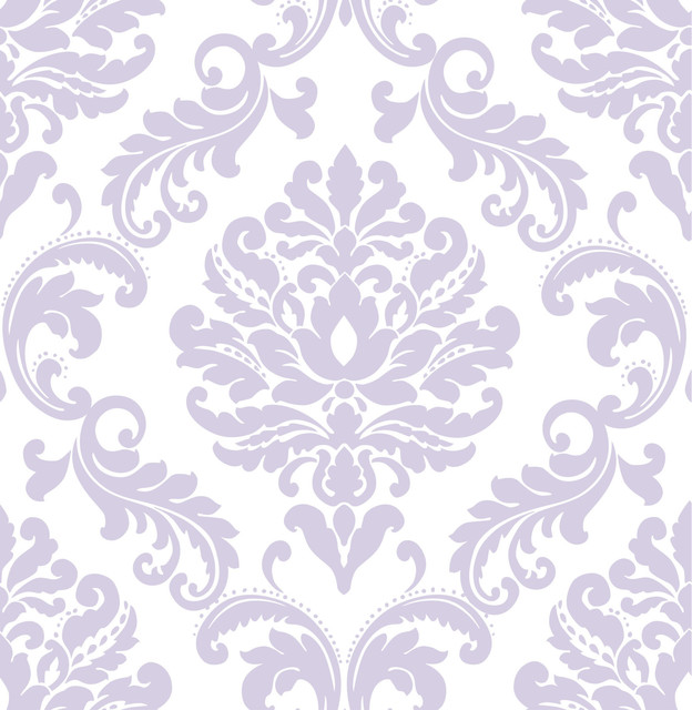 Modern Damask Peel And Stick Wallpaper Mediterranean Wallpaper By American Wallpaper Design
